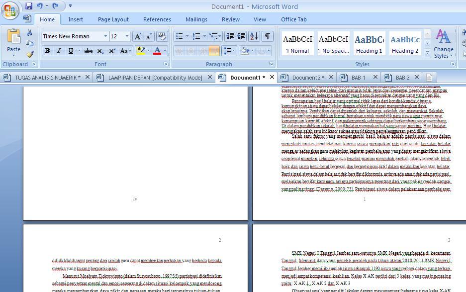 Mengatur Nomor Halaman Dengan Format Berbeda Dalam Word 2007